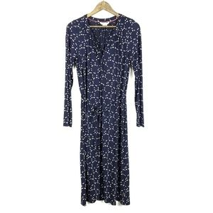 Boden Navy Blue Scattered Leaf Jersey Tilda Dress